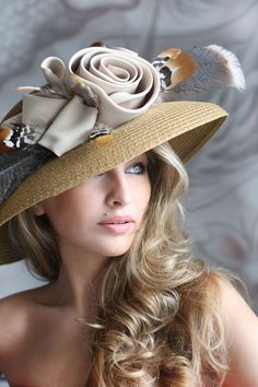 Elegant hat in beige tones | Evening hats by Anna Mikhaylova, via Behance
