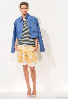 J. Crew Collection, jean jacket, striped shirt, embellished shorts, heels / Garance Doré