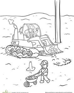 Kindergarten Vehicles Worksheets: Construction Yard Coloring Page