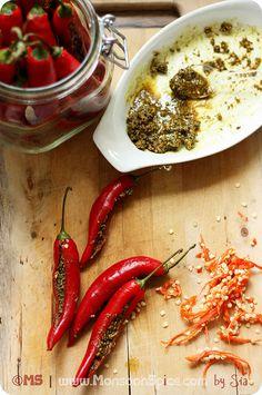Bharwan mirch ka achaar by Sia Krishna, Stuffeid Red Chili Pepper Pickle Recipe; Indian Food Recipes, Vegetarian Recipes, Veg Recipes, Vegetarian Cooking, Vegan Food, Food Food, Indian Pickle Recipe, Rajasthani Food, Desi Food