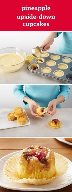 Pineapple Upside-Down Cupcakes – Fancy frosted cupcakes, be warned. The dessert recipe contender is back. Sweet fruit bakes on the bottom of lemon cake for a new mini-take on a classic crowd-pleaser.
