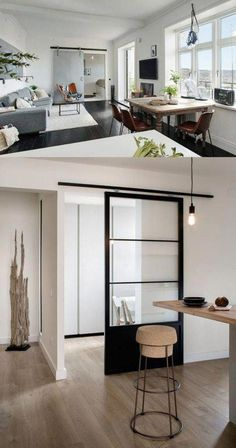Sliding steel frame and glass door - contemporary barn style Living Furniture, Interior Design Living Room, Home Furniture, Barn Door Designs, Room Partition Designs, Apartment Design, Home And Living, House Design, House Styles