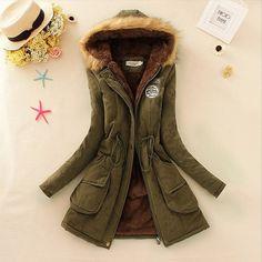 Fur Hooded Denim Cotton Acrylic material Solid Pattern Jacket For Women. #ShopOnline #MehdiGinger