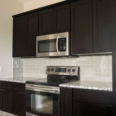 (Joe: If we do dark cabinets, I don't think the gray engineered wood will look good) 12x13 Island Kitchen Cabinets Bundle in Shaker Espresso with Soft Close Drawers…