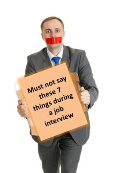 Job Interview – 7 Things Not to Say during the interview Have a job interview? It's normal to get nervous before and during a job interview. In fact, everyone gets nervous. However, be sure not to say these things Interview Skills, Job Interview Questions, Job Interview Tips, Job Interviews, Interview Answers, Interview Preparation, Job Resume, Resume Tips, Resume Examples