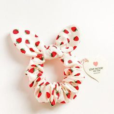 back to school bunny bow hair scrunchies strawberry-ponytail