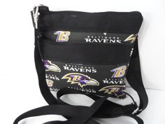 Baltimore Ravens Purse - Cross Body Bag - City Purse - NHL Purse - NFL Purse - MLB Purse - Zippered Pouch - Travel Bag - Zippered Wallet - by Nanasewingroom on Etsy