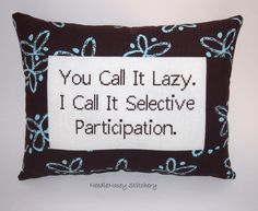 Funny Cross Stitch Pillow, Brown Pillow, Lazy Quote on Wanelo