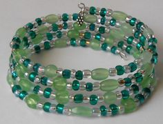 New jewelry - unique, handmade bead memory wire bracelet! Silver and Copper Green Memory Wire Bracelet by VineDesignBeads, $16.00