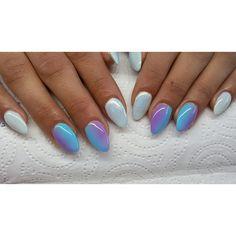 Żel na szablonie :) #semilac #diamondcosmetics #ilovesemilac #nailart #nails #hybryda #hybrid #manicure #mani #ombre #instanails #indigo #efektsyrenki #syrenka #mermaidnails #gelnails #paznokcie #migdałki #żelowe