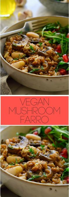 This easy mushroom farro recipe is great served as a healthy side dish or a hearty #vegan main. It's simple to prepare with minimal yet flavour-packed ingredients and great for a quick dinner at the end of a busy working day.
