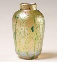 Rare Steuben Aurene Gold Millefiori Glass Vase