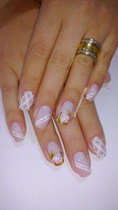 26 modelos de unhas decoradas com rosas unhas decoradas francesinha branca, unhas decoradas delicadas, Cute Nails, Pretty Nails, My Nails, Elegant Nails, Flower Nails, Creative Nails, Beautiful Nail Designs, French Nails, Manicure And Pedicure