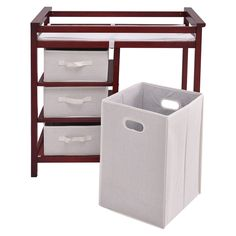Coffee HONEY JOY Baby Changing Table Basket Hamper Infant Diaper Nursery Station