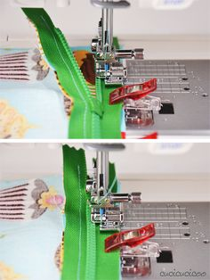 Come cucire una cerniera lampo con l'attaccatura visibile: usa il piedino per cerniere per attaccare e impunturare perfettamente una cerniera. www.cucicucicoo.com
