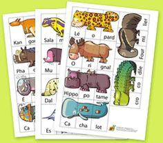 Melimelo des animaux, à imprimer en noir et blanc ou en couleurs pour plusieurs types de jeux selon les âges.