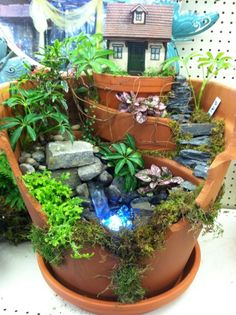 Fairy garden with water feature by Kristin Middleton
