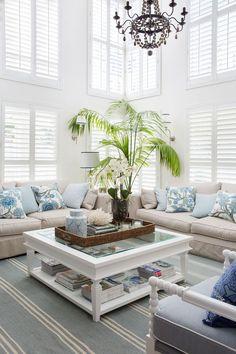The Hamptons Style Living Room - Living Room : Home Decorating Ideas Hamptons Decor, Salon Hamptons, Hamptons Living Room, Hamptons Style Homes, Coastal Living Rooms, Hamptons House, Coastal Cottage, Hamptons Beach Houses, Cozy Cottage