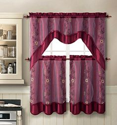 Daphne Embroidered Kitchen Curtain Set By Victoria Classics - Assorted Colors (Burgundy) Victoria Classics http://www.amazon.com/dp/B00NL6EWT0/ref=cm_sw_r_pi_dp_fl2Qub14PBTV3