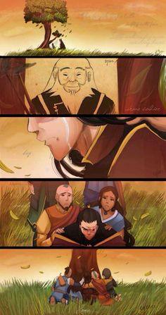Uncle Iron, Zuko, Aang, Katara, Sokka, Toph, older, sad, crying; Avatar: the Legend of Korra