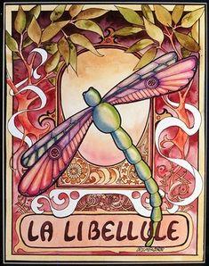 Art Nouveau Libelle, Peg Lozier, http://www.etsy.com/people/Peggitha?ref=ls_profile