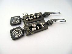 Boogaloo Dudes - Handmade earrings with handmade ceramics, rustic seed trade beads, Indonesian glass and Irish waxed linen