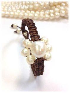 SALE  Freshwater Pearl and Leather Bracelet  BourBan by AdiDesigns, $39.50