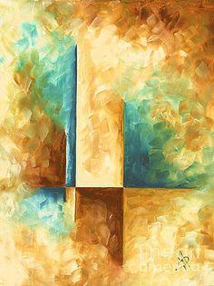 Abstract Teal Golden Rust Minimalist Contemporary PoP Art Painting Aqua Maze II by MADART by Megan Duncanson