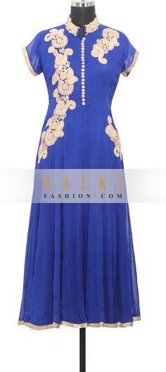 Buy Online from the link below. We ship worldwide (Free Shipping over US$100)  http://www.kalkifashion.com/blue-georgette-kurti-in-kundan-and-thread-only-on-kalki.html