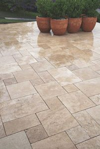 """Walnut Travertine Tiles & Pavers - Bellstone"" Travertine can be slippery when wet. Make sure to have your stone sealed with added SharksGrip. The SharksGrip will put just the right amount of traction to help with slips on wet tile. Porch Tile, Patio Tiles, Outdoor Tiles, Outdoor Flooring, Concrete Patio, Travertine Pavers, Pool Remodel, Swimming Pools Backyard, Backyard Patio"