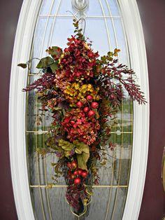 "Fall Teardrop Vertical Door Swag Decor..""Autumn Enchantment"". $70.00, via Etsy."