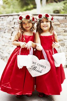 ♥♥♥ White- Red Wedding ♥♥♥ - Our dresses are sure to get big smiles from your littlest attendants! This satin tea-length ball gown is available in 44 colors and boasts a tank neckline with wide spaghetti straps. David's Bridal Flower Girl Style in Apple Red Wedding Flowers, Rose Wedding, Wedding Colors, Dream Wedding, Red Flower Girl Dresses, Girls Dresses, Flower Girls, Dress Red, Diy Flower