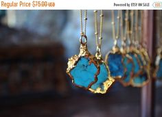 HOLIDAY SALE PETITE Aqua  /// Redskin /// Small Turquoise Chunk Necklace /// Electroformed 24kt Gold by luxdivine on Etsy https://www.etsy.com/listing/196659622/holiday-sale-petite-aqua-redskin-small