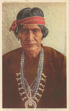 A Navajo Medicine Man Fred Harvey Postcard
