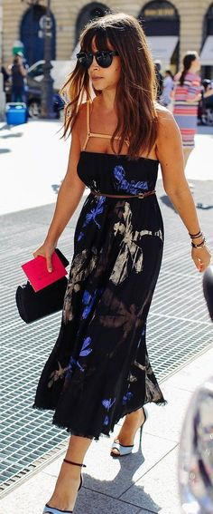 Miroslava Duma street style in an Aquilano.Rimondi dress