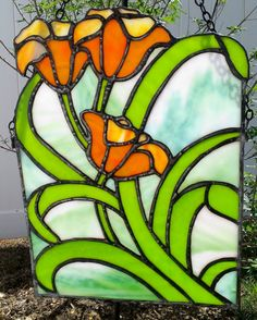 Stained Glass Art Orange Spring Tulips by JBsGlassHouse o