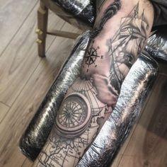 Another angle of a sleeve I recently finished. #tattoo #tattoos #sleevetattoo #ship #nauticaltattoo ...