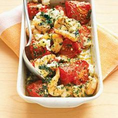 Roasted Tomatoes with Shrimp and Feta Recipe | MyRecipes.com |  Everything s/b organic, oil s/b cold pressed and shrimp s/b wild caught.  Could sub in goat cheese if have dairy issues - YUM!