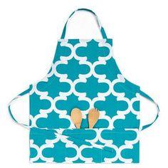 Linen Tablecloth Trellis Bib Apron Color: Turquoise/White