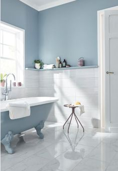 An elegant and bright decor in the bathroom - In this completely renovated bathroom, we add a touch of elegance with a marble effect tile and pas - Pastel Bathroom, Small Bathroom, Blue Gray Paint, Bright Decor, Bad Inspiration, Upstairs Bathrooms, Design Your Home, House Design, Clawfoot Bathtub