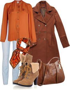 """""""Orange and Brown"""" by wiferichie ❤ liked on Polyvore"""