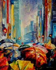 Leonid Afremov Umbrellas Palette Knife Contemporary Art Cityscape Oil Painting on Canvas, 24 by 30-Inch