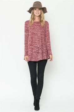 Effortlessly flattering, with a laid-back round neckline. This drapey two-tone long sleeve swing tunic is so, so easy to wear. We are especially into clothes that have a luxurious look and feel without having to sweat about what to wear tomorrow... or even the day after.COLORS BlackBurgundyOliveMochaNavySIZES Small 0-4Medium 6-8Large 10-12X-Large 14-16This garment runs true to size.Model is wearing a size Small