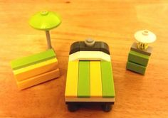 LEGO Custom Furniture Modular Interior  Lime & Yellow Bedroom Set with Bed, Dresser, Night Table, Table Lamp, and Floor Lamp  #LEGO #LEGOFurniture #LEGOBedroom