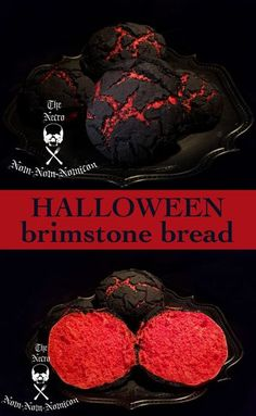 Rumor has it, when demons in Hell make this bread, they roll.- Rumor has it, when demons in Hell make this bread, they roll the dough in the deep pits of sulfur and soul dust and cook them in the hot brimstone vents. Halloween Desserts, Halloween Torte, Pasteles Halloween, Recetas Halloween, Halloween Cocktails, Halloween Dinner, Halloween Goodies, Halloween Food For Party, Spooky Halloween