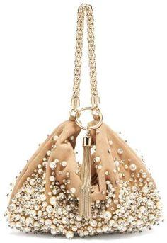 Jimmy Choo Callie Faux Pearl Embellished Suede Clutch - Womens - Nude Multi #handbagsjimmychoo Embellished Purses, Beaded Purses, Jimmy Choo Sunglasses, Stylish Handbags, Boho Bags, Beaded Clutch, Vintage Purses, Suede, Clutch Bag