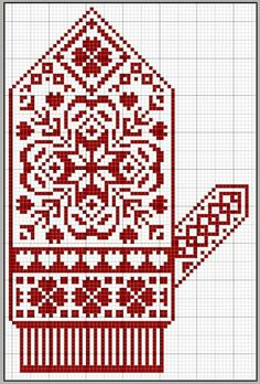 idea for mittens for steve, black red and white, would be nice with i cord cast… Knitted Mittens Pattern, Fair Isle Knitting Patterns, Knit Mittens, Knitting Charts, Knitted Gloves, Knitting Stitches, Hand Knitting, Filet Crochet, Cross Stitch Embroidery
