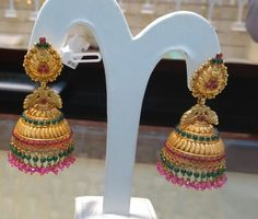 Gold Ring Designs, Gold Earrings Designs, Gold Jewellery Design, Diamond Jewellery, Diamond Jhumkas, Gold Jhumka Earrings, Antique Earrings, Gold Jewelry Simple, Gold Wedding Jewelry