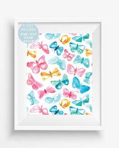watercolor butterflies,nursery decor,digital art print,home decor,room decor,digital art print,child room,