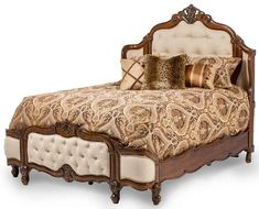AICO Furniture - Lavelle Melange California King Wing Mansion Bed with Fabric Tufted - 54000MCKW3-34